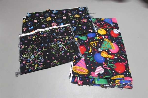 QUILTING FABRIC, APRON PATTERN & UNFINISHED QUILT TOP