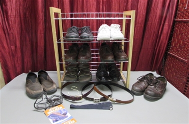 MENS DRESS AND CASUAL SHOES, BELTS & 4 TIER SHOE RACK