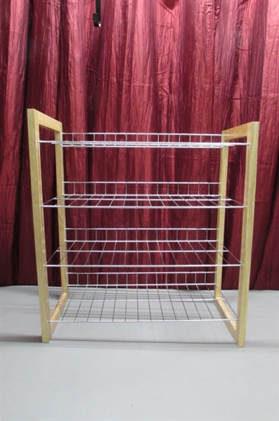 MEN'S DRESS AND CASUAL SHOES, BELTS & 4 TIER SHOE RACK
