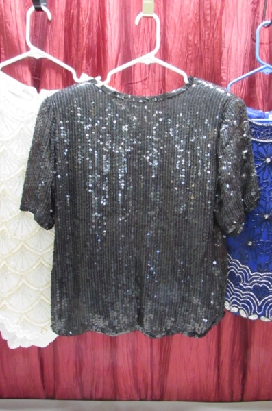 FANCY BEADED & SEQUINED TOPS AND FLOWING BOTTOMS