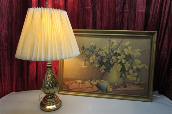 BRASS REMBRANDT TABLE LAMP & VINTAGE FRAMED FLORAL PRINT