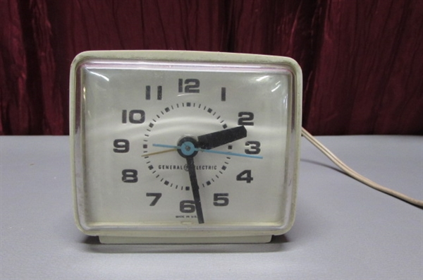 ALARM CLOCKS & SMALL METAL BANK WITH KEY
