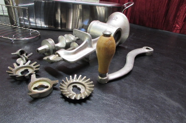 STAINLESS STEEL FISH POACHER & VINTAGE GRINDER