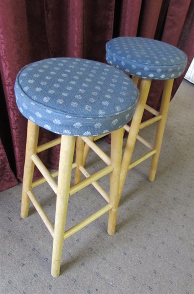 PAIR OF WOODEN STOOLS