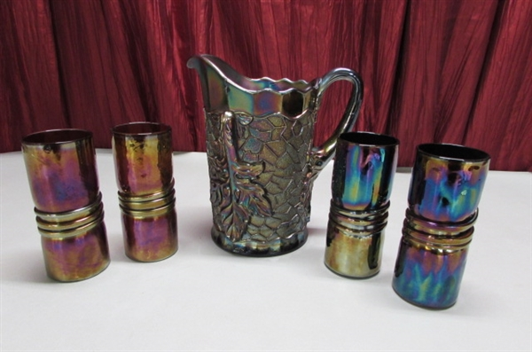 ANTIQUE DUGAN CARNIVAL GLASS PITCHER & 4 SIGNED ART GLASS TUMBLERS