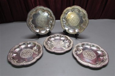 "SET OF 5 SILVERPLATE 9"" PLATES FROM THE YUAN DYNASTY"