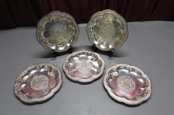 SET OF 5 SILVERPLATE 9 PLATES FROM THE YUAN DYNASTY