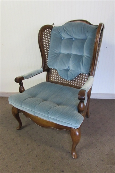 VINTAGE CANED WINGBACK CHAIR