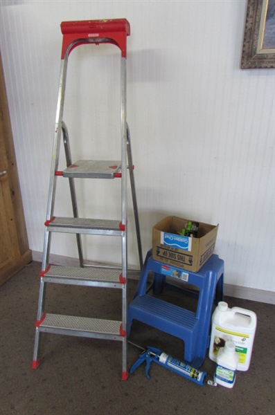 ALUMINUM LEIFHEIT STEP LADDER & RUBBERMAID STEP STOOL