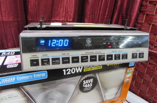 GE UNDER CABINET MOUNT CLOCK/RADIO/TIMER, SMOKE DETECTOR, LIGHT BULBS, ETC.