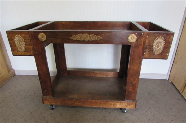 HANDCRAFTED WOOD GARDEN OR LAUNDRY CART