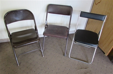 3 MISMATCHED METAL FOLDING CHAIRS
