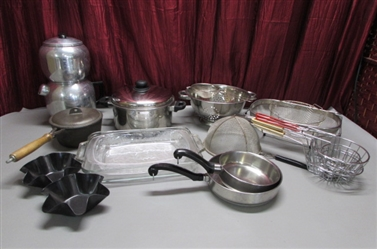 POTS, PANS, BAKING DISHES, STRAINERS & MORE