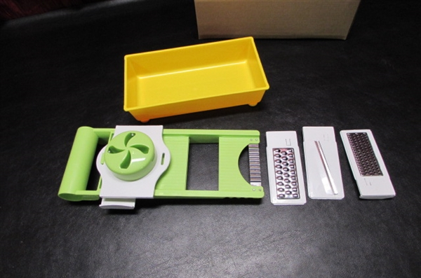 PYREX/ANCHOR HOCKING, MANDOLIN SLICER, BROWNIE PAN & MEATLOAF PAN
