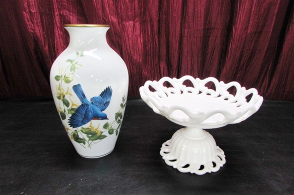 MILK GLASS PEDESTAL DISH & FRANKLIN MINT BLUEBIRDS OF SUMMER VASE