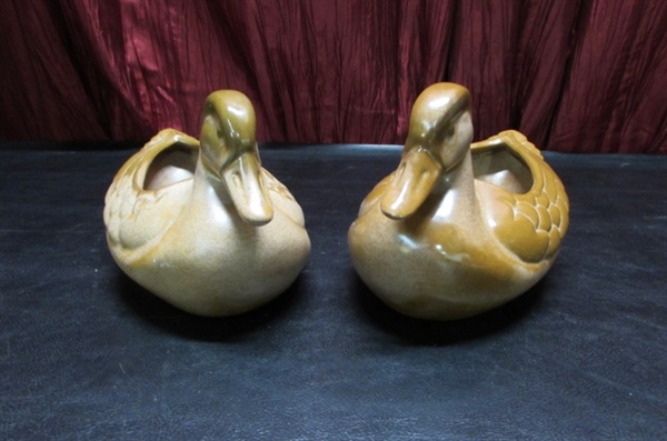 PAIR OF VINTAGE ART DECO DUCK PLANTERS - - FRANKOMA POTTERY #208A