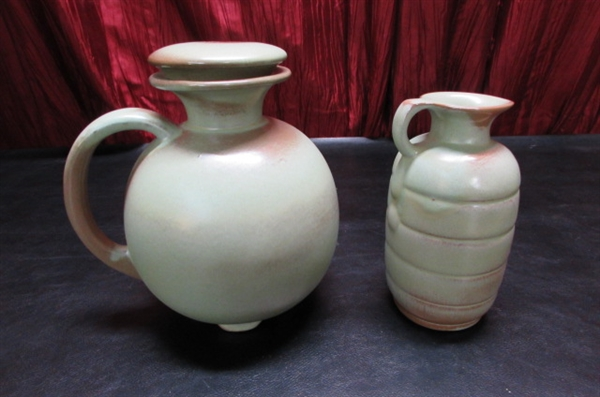 2 VINTAGE ART DECO FRANKOMA POTTERY PITCHERS