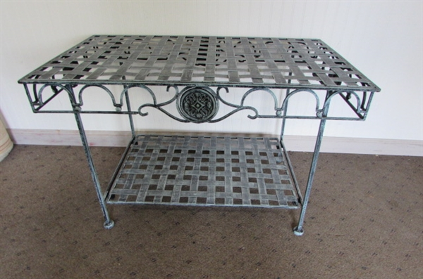 METAL LATTICE TOP OUTDOOR TABLE WITH MEDALLIONS