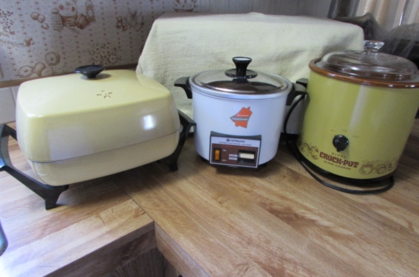 HITACHI CHIMEOMATIC STEAMER/RICE COOKER, WEST BEND ELECTRIC SKILLET, RIVAL CROCK-POT
