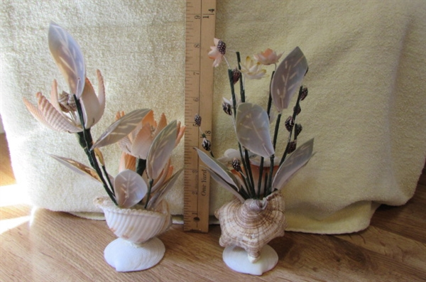 COLLECTION OF HANDCRAFTED SHELL & GLASS FLORAL ARRANGEMENTS