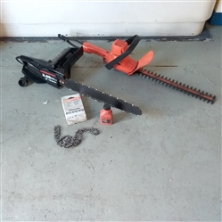 ELECTRIC CHAINSAW AND HEDGE TRIMMER