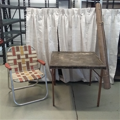 ANTIQUE  SAMSON CARD TABLE, OUTDOOR CHAIR, AND ROLL UP SHADE