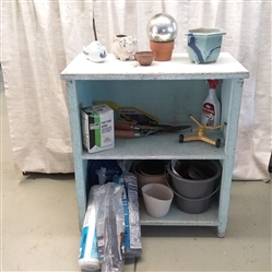 VTG SHABBY CHIC SHELF AND OUTDOOR ITEMS