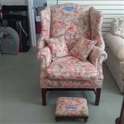 VINTAGE FLORAL WINGBACK ARMCHAIR WITH FOOT STOOL AND THROW PILLOWS