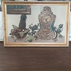 VINTAGE EMBOSSED CLOCK & FRUIT PICTURE