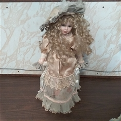 "17"" PORCELAIN DOLL WITH STAND"