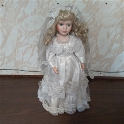 "16"" PORCELAIN DOLL WITH STAND"