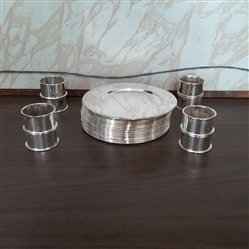 SILVER PLATED BREAD & BUTTER PLATES AND NAPKIN RINGS