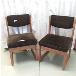 PAIR OF OAK CHAIRS WITH CHOCOLATE BROWN UPHOLSTERY