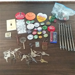 LOT OF VINTAGE GOODIES- KEYS, PINS, DICE, MARBLES, AND MORE!