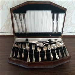 49 PIECE VINTAGE MONARCH PLATE SILVERWARE WITH STORAGE BOX