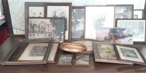 LOT OF VINTAGE PICTURES AND FRAMES