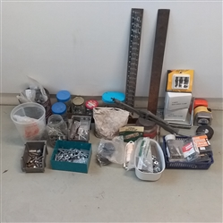 LOT OF GARAGE ITEMS- TOOLS, NUTS, BOLTS, HARDWARE AND MORE