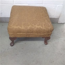 VINTAGE UPHOLSTERED OTTOMAN WITH WOOD LEGS