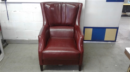 ZOCALO RED LEATHER CLUB CHAIR MATCHES LOT #33