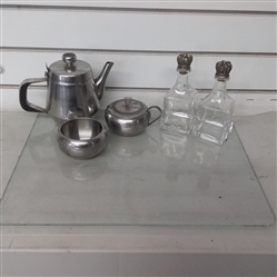 GLASS CUTTING BOARD, STAINLESS TEA POT, GLASS BOTTLES WITH METAL STOPPERS