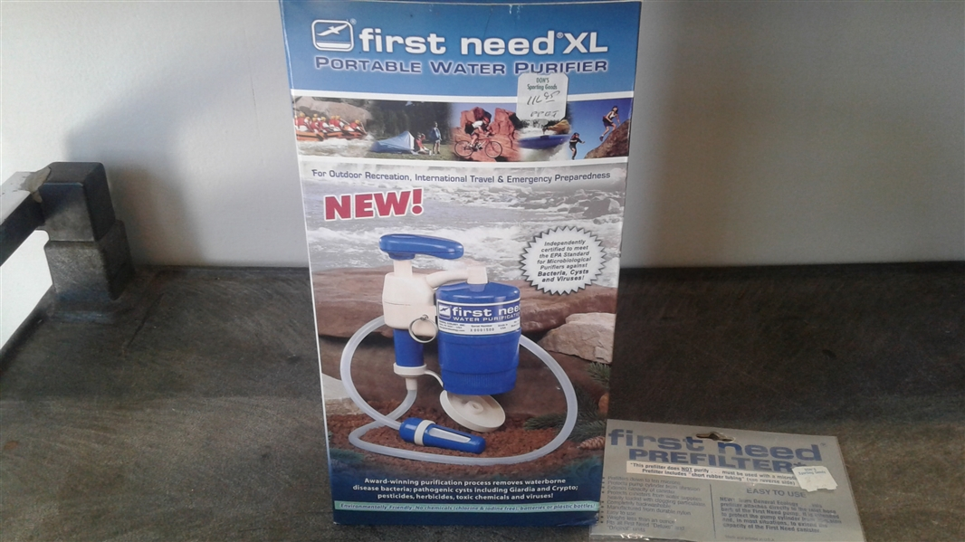 FIRST NEED XL PORTABLE WATER PURIFIER AND PREFILTER
