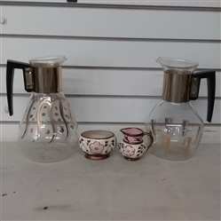 VINTAGE  CARAFES & CREAM & SUGAR SET