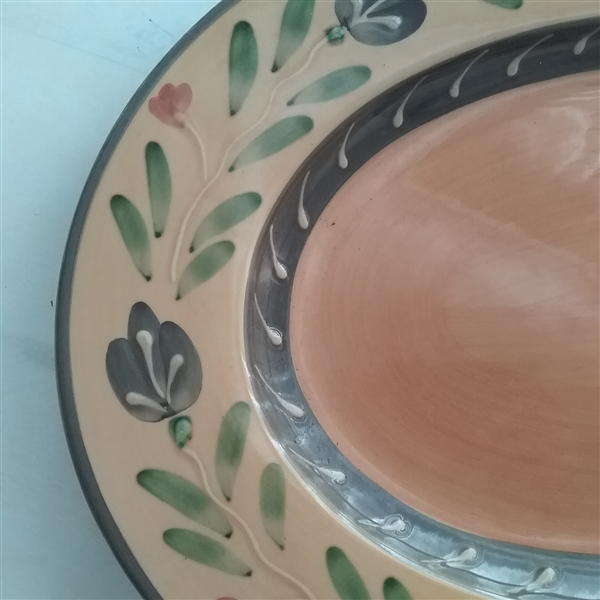 2 HAND PAINTED SERVING PLATTERS