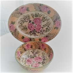 FRENCH GARDEN HAND PAINTED BOWL AND PLATTER