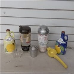 TWO VINTAGE COCKTAIL SHAKERS, HAND PAINTED OLIVE OIL JUGS & OTHER DRINK ITEMS