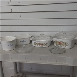 CORNING WARE SERVING DISHES AND EXTRA LIDS