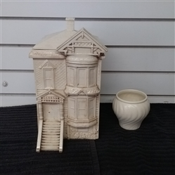 VINTAGE DUNCAN CERAMICS COOKIE JAR AND FRANCISCAN WARE VASE