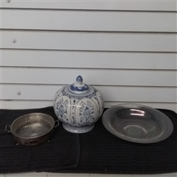 BLUE & WHITE CERAMIC URN/VASE, CARNIVAL GLASS BOWL & SILVER PLATED GLASS DISH