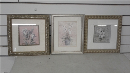 3 FLORAL FRAMED PICTURES