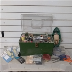 SEWING BOX WITH SEWING SUPPLIES